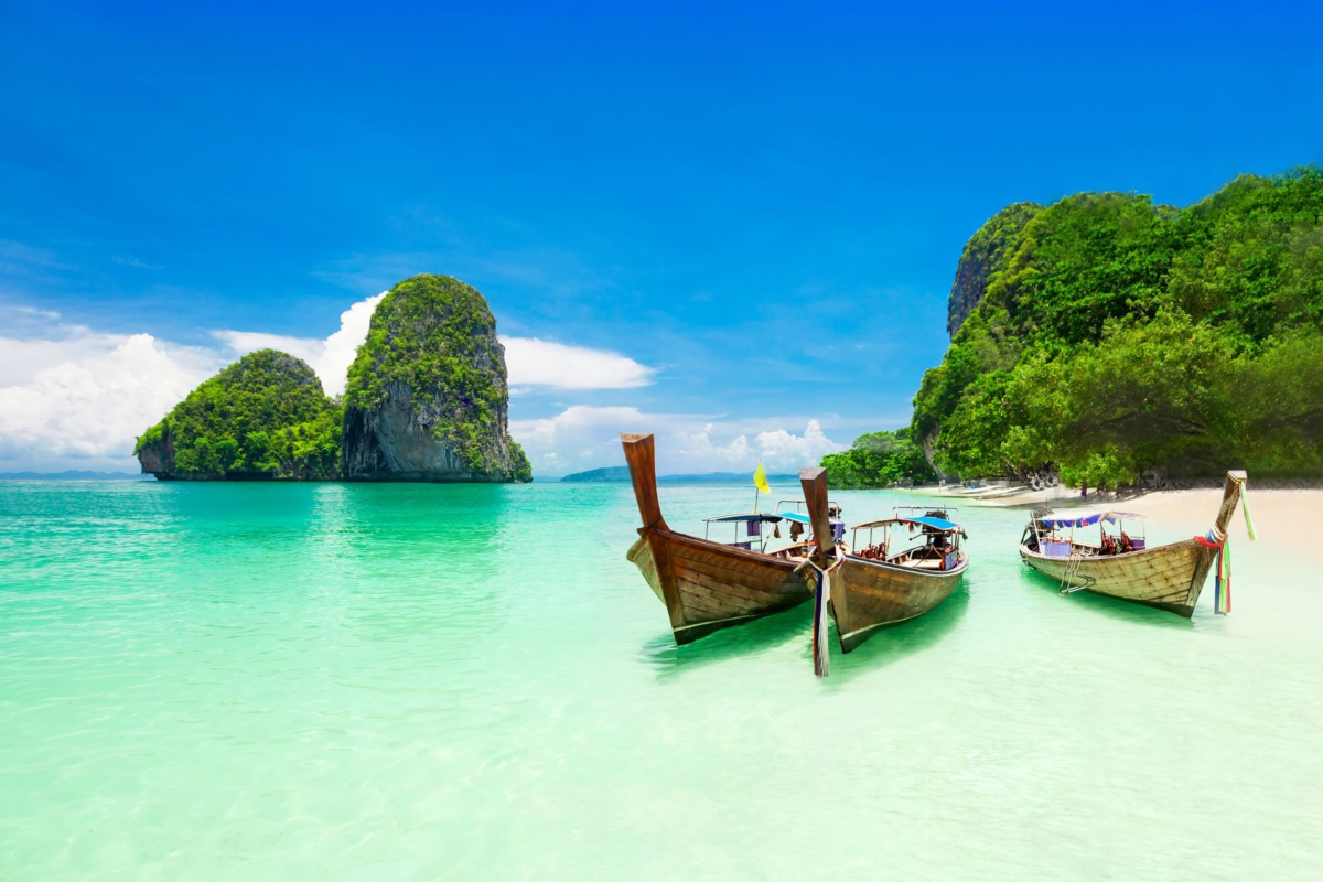 Thailand pristine beach and boats