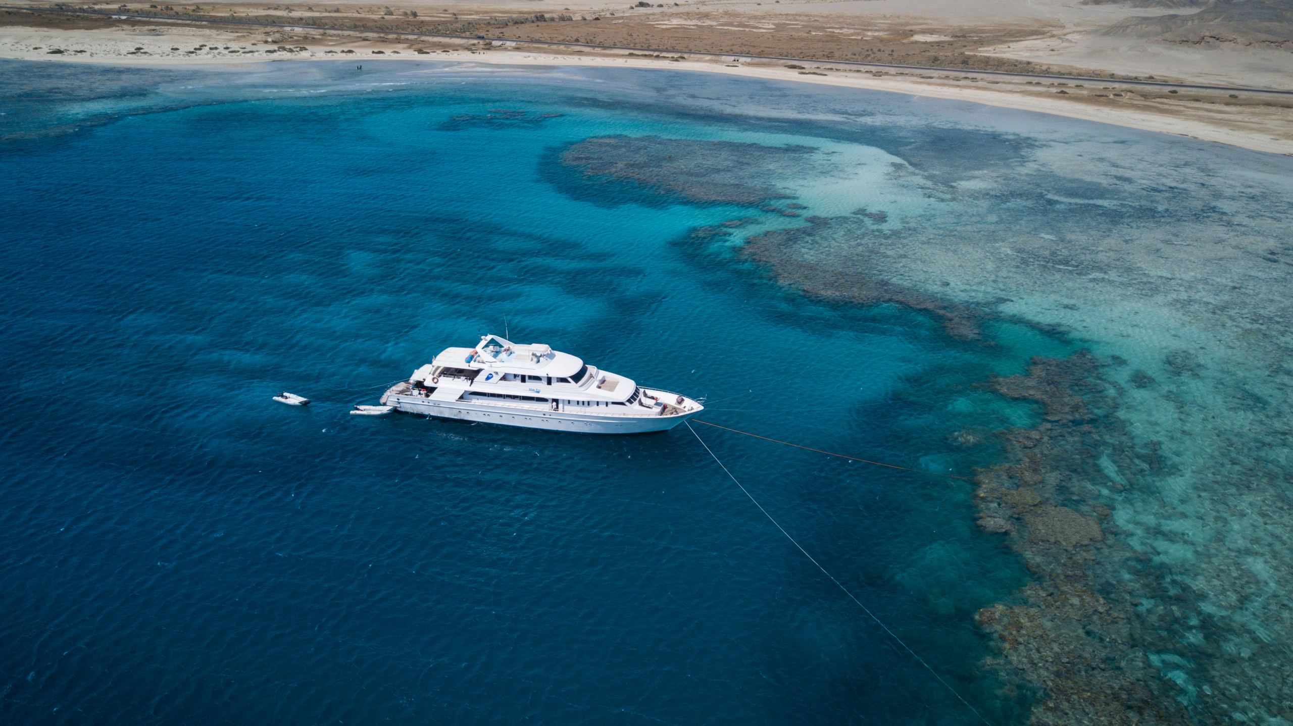 Blue Fin liveaboard yacht anchored in the Red Sea